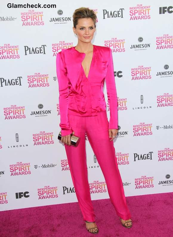 Stana Katic in Fuchsia Jumpsuit at 2013 Independent Film Awards