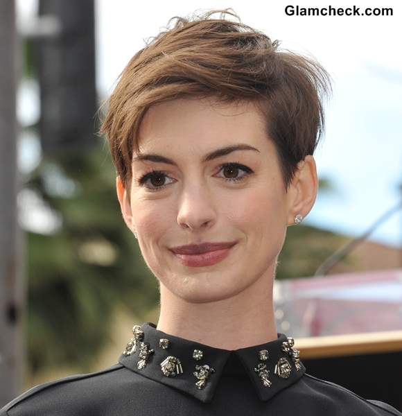 Anne Hathaway Pixie Hairstyle textured