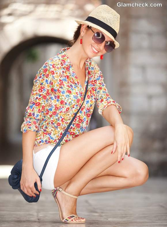 Chic Summer Look Wearing Floral Shirt with Crisp White Shorts