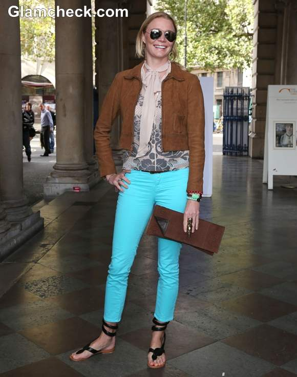 Fashion Inspiration Jodie Kidd Casual Chic in Neon Blue Jeans at LFW S-S 2013