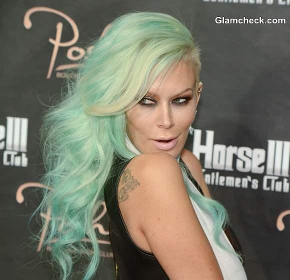 Jenna Jameson Celebrates Birthday with Sea-foam Green Hair Color