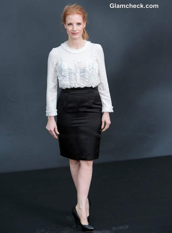 Jessica Chastain at Paris Fashion Week FW 2013 Chanel photocall