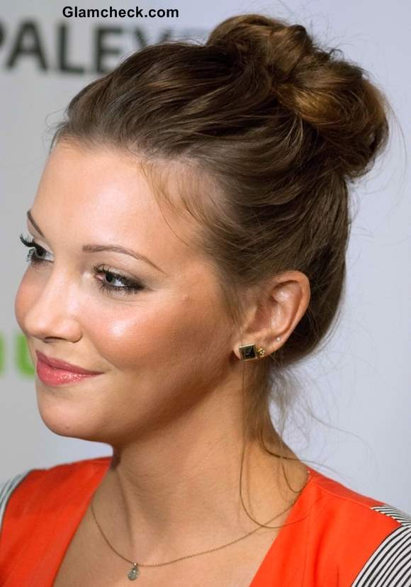 Kate Cassidy Top Knot Bun hairstyle 2013