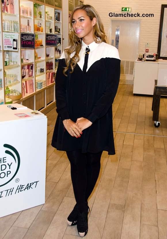 Leona Lewis Demure in Black  White Dress at Bodyshop Photocall