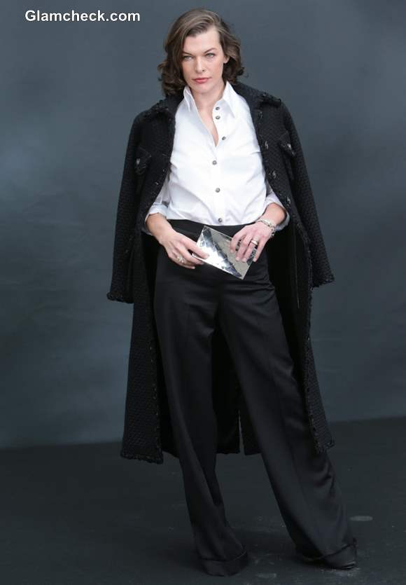 Milla Jovovich Androgynous at Paris Fashion Week F/W 2013 ...