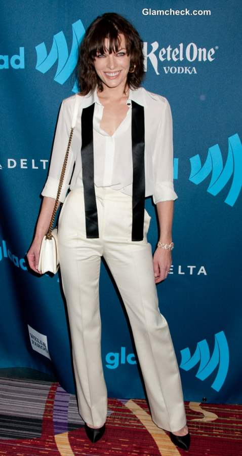 Milla Jovovich Classy Androgynous Look at GLAAD Awards 2013