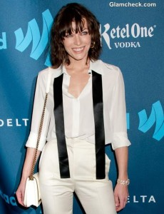 Vision in White: Milla Jovovich Sports Classy Androgynous Look at GLAAD Awards