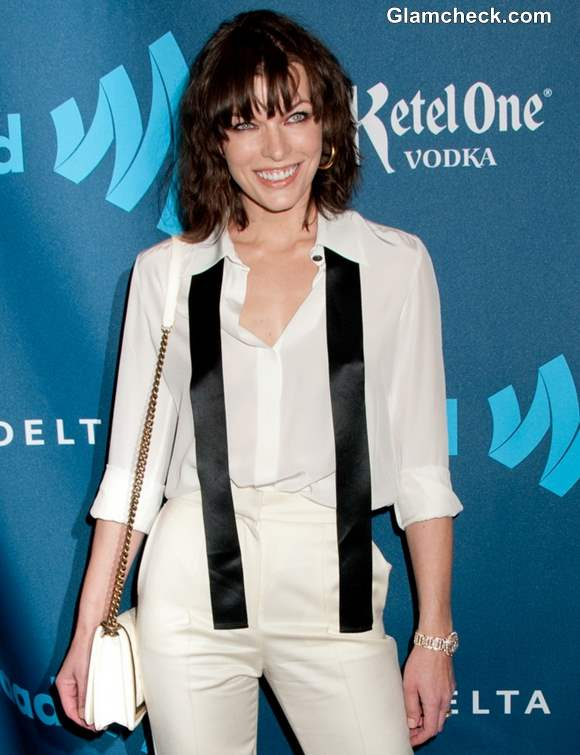 Milla Jovovich Sports Classy Androgynous Look at GLAAD Awards