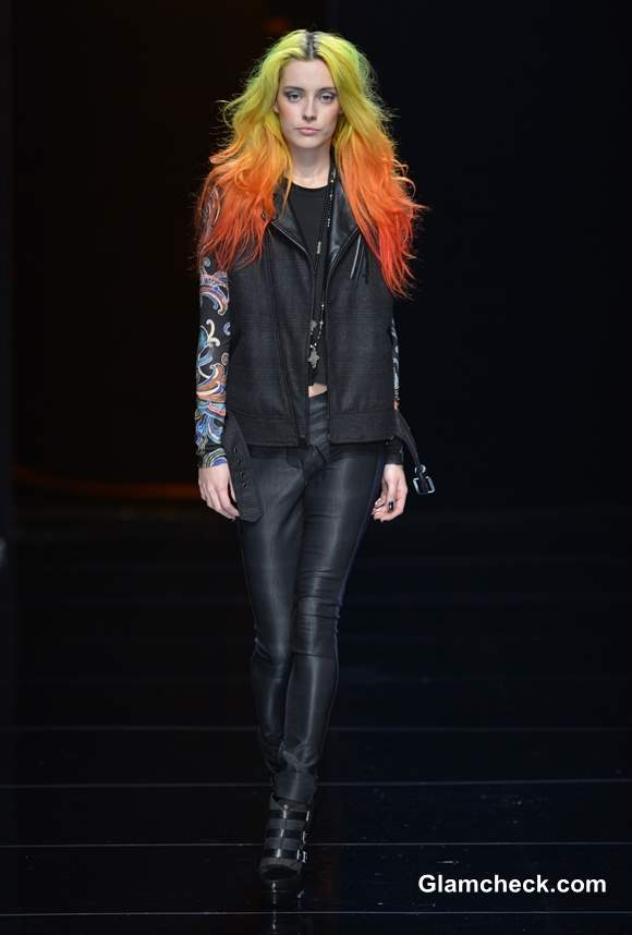 Nicole Miller fall-winter 2013 Yellow Orange Ombre hair