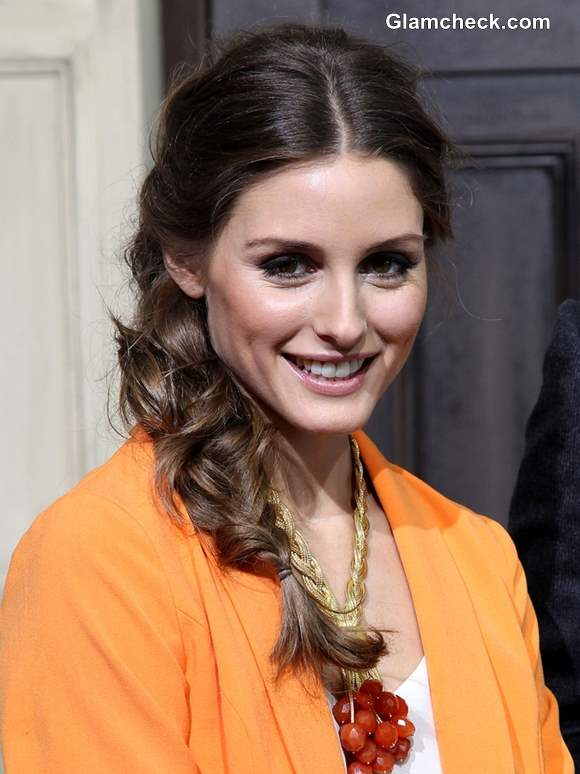 Olivia Palermo in Messy Side Braid Hairstyle 2013