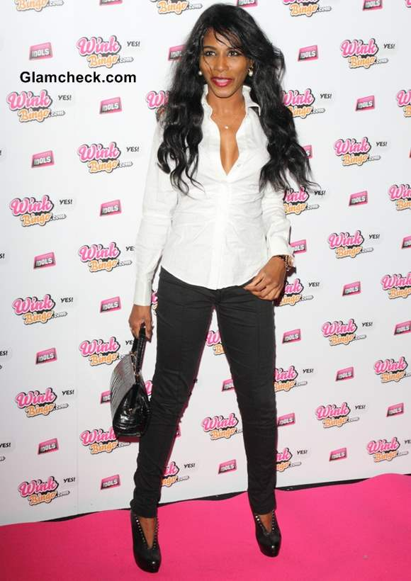 Sinitta Dons in Black and White at Celebrity Bingo Event