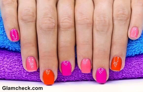 Spring nail art color blocking