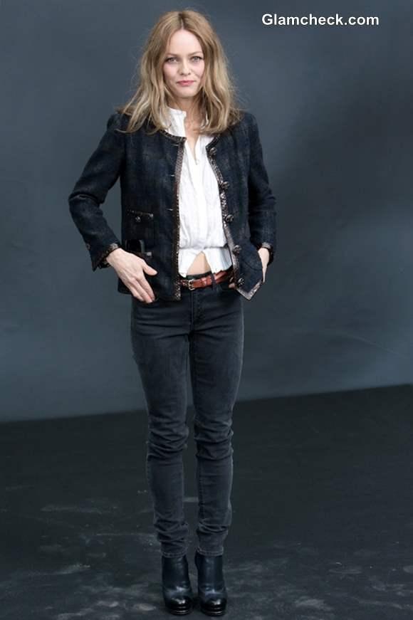 Vanessa Paradis Parisian Chic at Paris Fashion Week FW 2013 Chanel