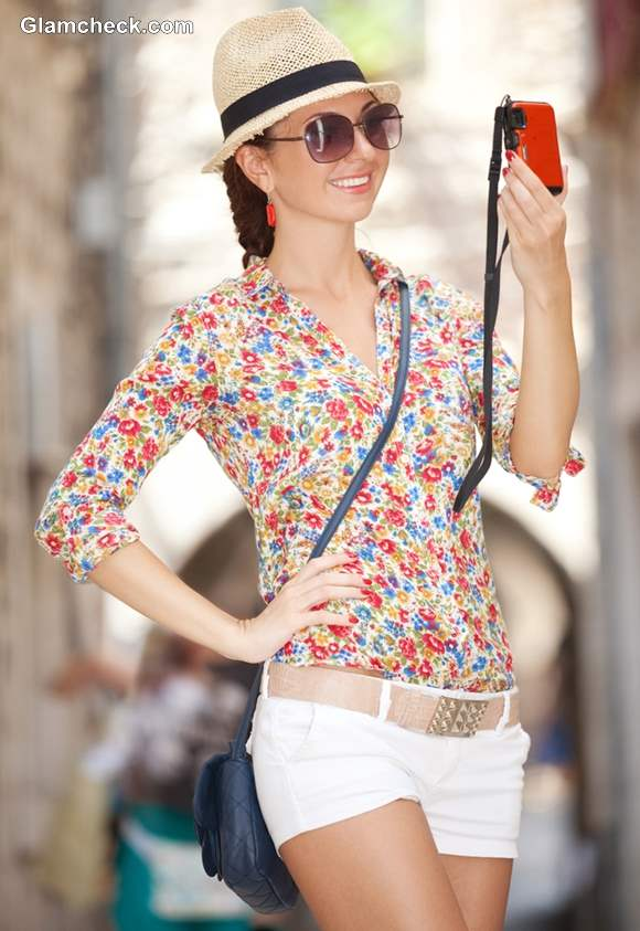Wearing Floral Shirt with Crisp White Shorts summer styling