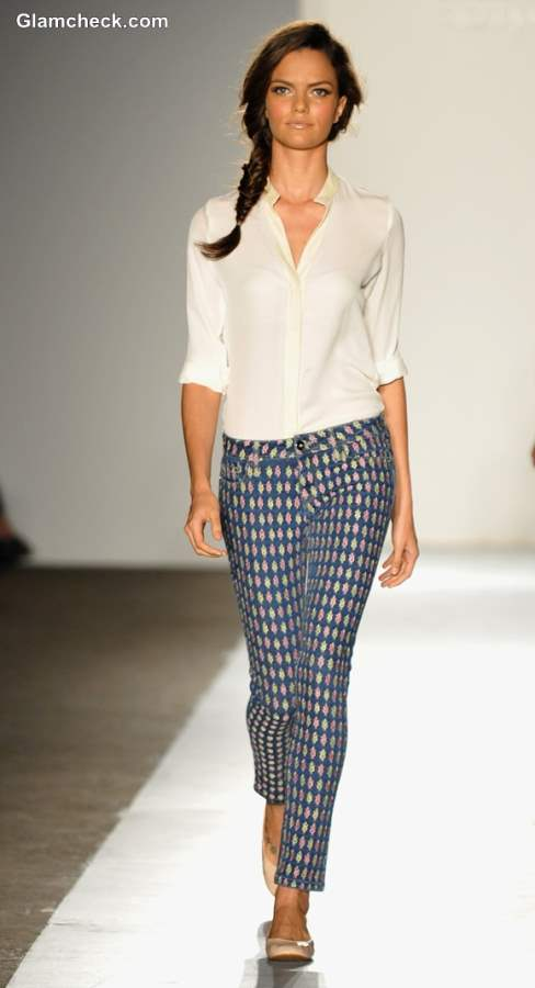 Wearing white shirt with printed pants
