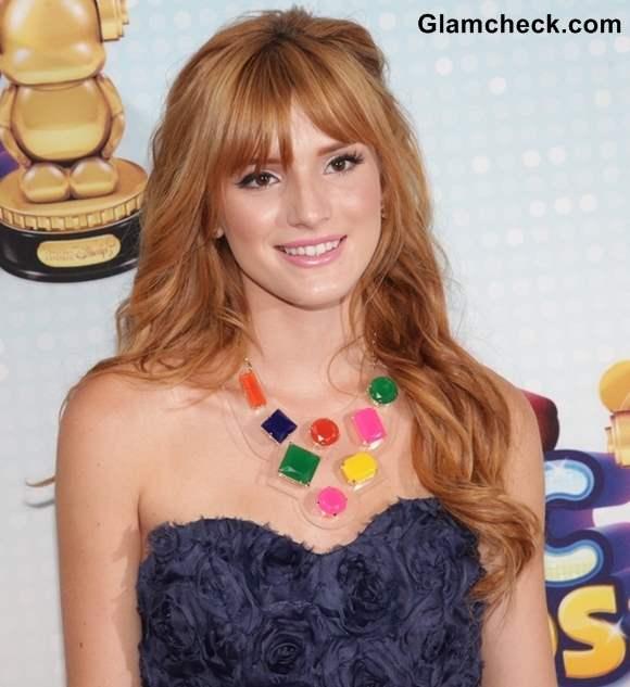 Bella Thorne Wows with Chic Hair Colorful Neck Piece
