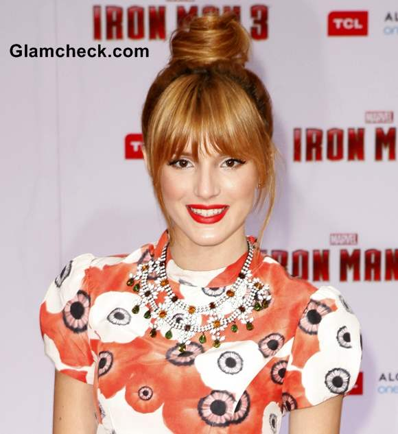 Bella Thorne hairstyle Top Knot at Iron Man 3 Premiere