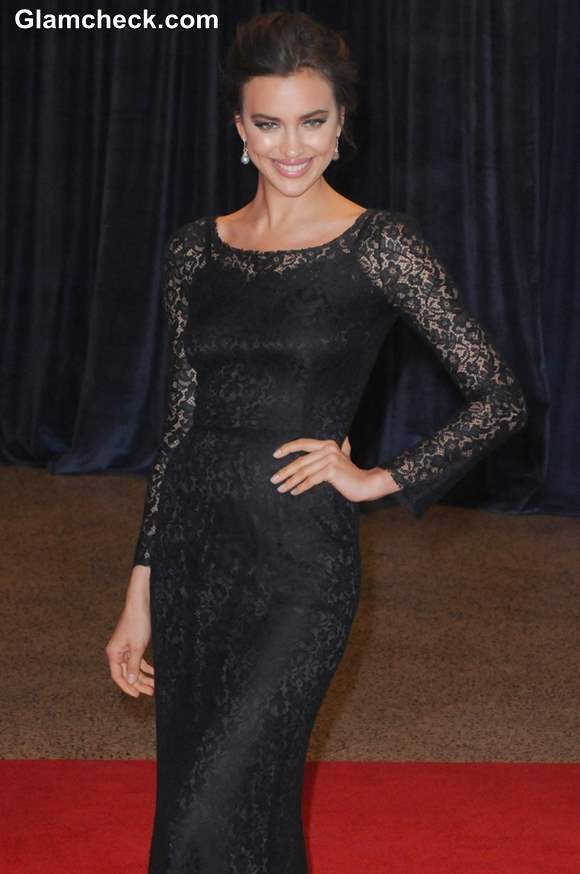 Irina Shayk Black Lace Dress 2013