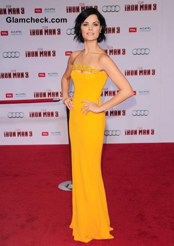 Jaime Alexander Red Carpet in Strapless Yellow Gown