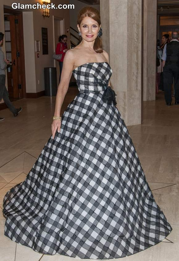 Jean Shafiroff checkered gown