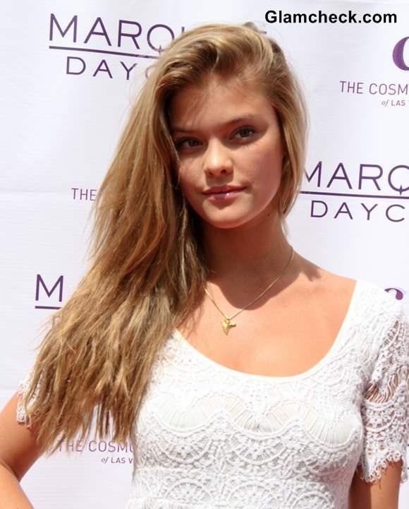 Nina Agdal hairstyle beach waves