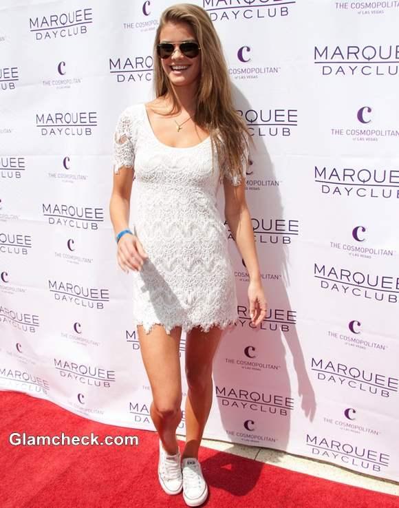 Nina Agdal in white Crochet Mini Dress