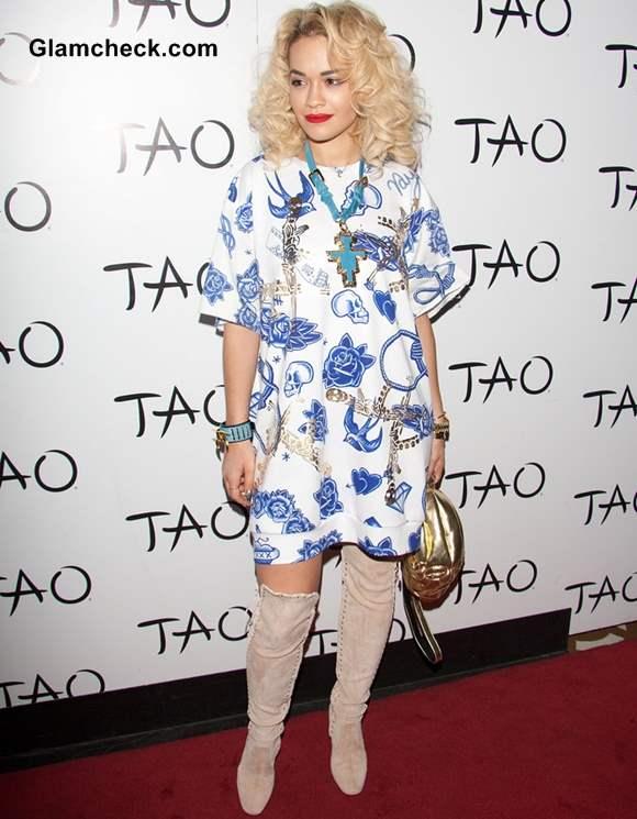 Rita Ora in Quirky Print T-shirt Dress
