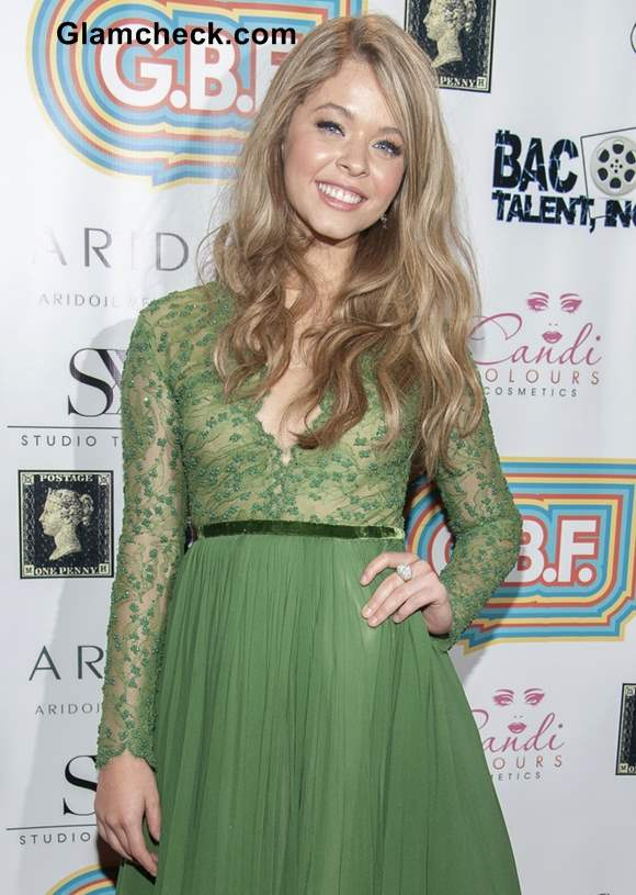 Sasha Pieterse green lace dress at Tribeca Awards 2013