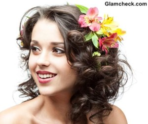 Spring Flowers Hairstyles for Short curly Hair