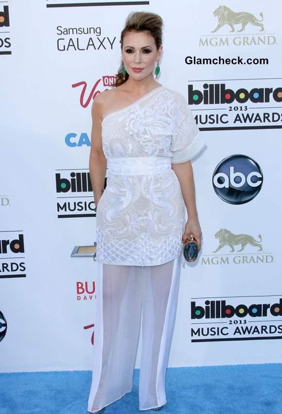Alyssa Milano Refreshing in White at 2013 Billboard Music Awards