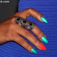 DIY Nail Art Coral mint Pointy Flirty Nails