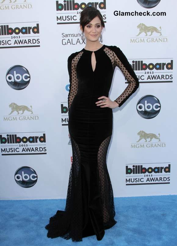 Emmy Rossum in Velvet Black Gown at 2013 Billboard Music Awards