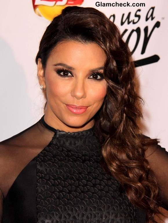 Eva Longoria Sports Side-swept Curls at Lays Event 2013