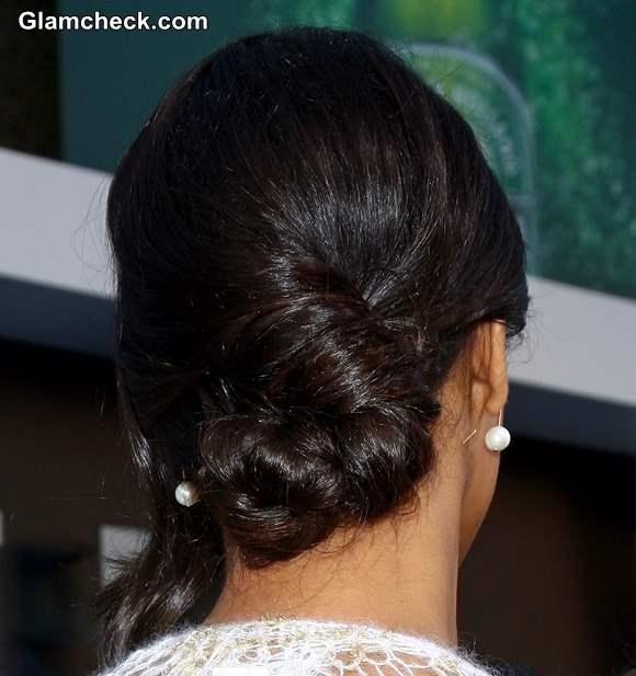Hairstyle How To Twisted Low Bun Zoe Saldana