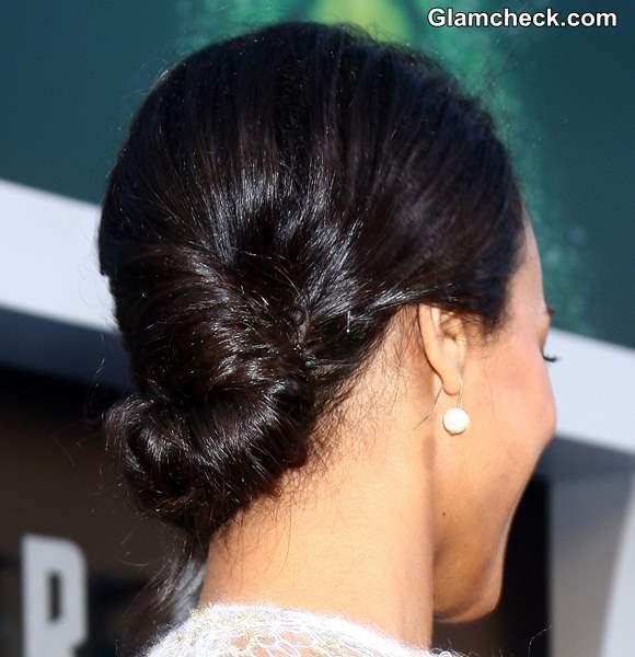 Hairstyle How To Zoe Saldana Twisted Low Bun