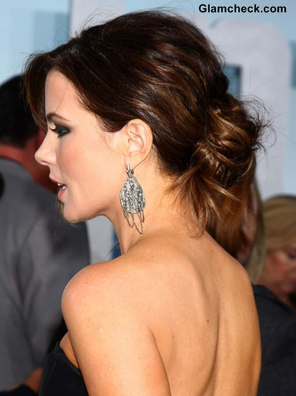 Kate Beckinsale Messy Chignon Hairstyle 2013