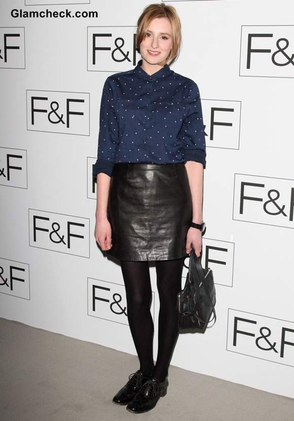 Laura Carmichael in leather skirt at F-F Autumn-Winter 2013 Show