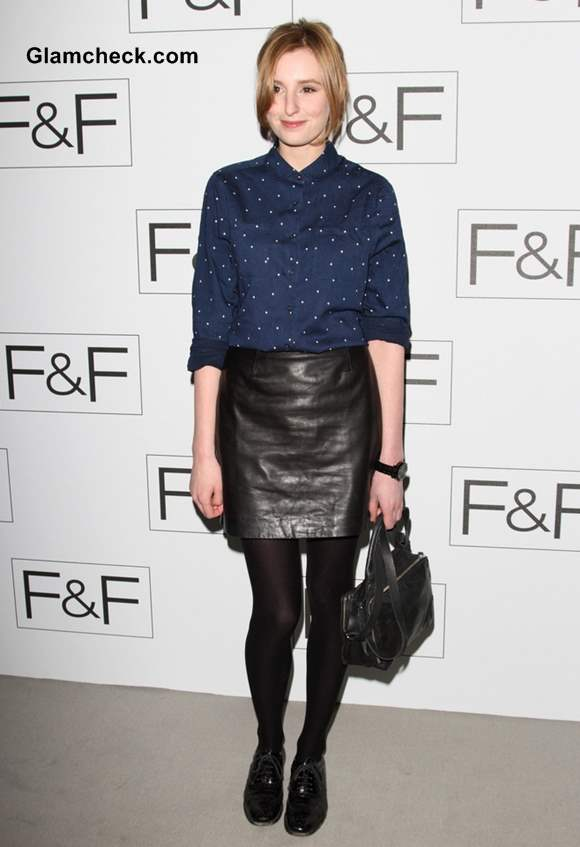 Laura Carmichael leather skirt at F-F Autumn-Winter 2013 Show