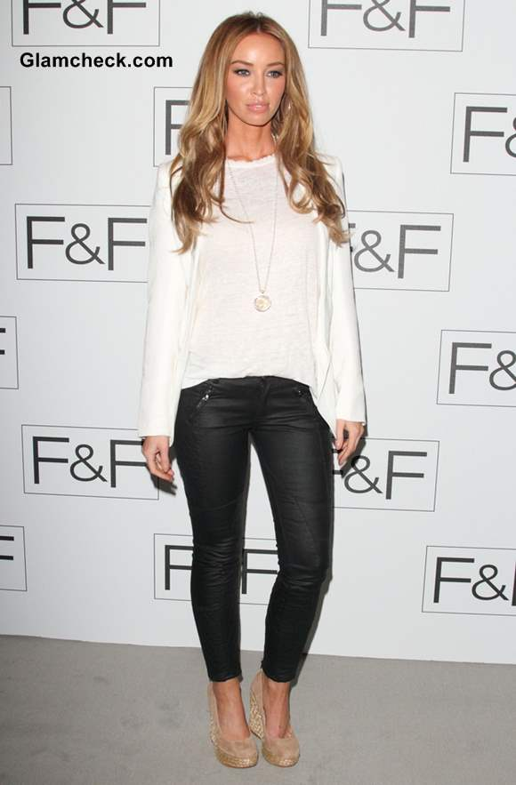 Lauren Pope black leather pants at FF AW 2013 Show