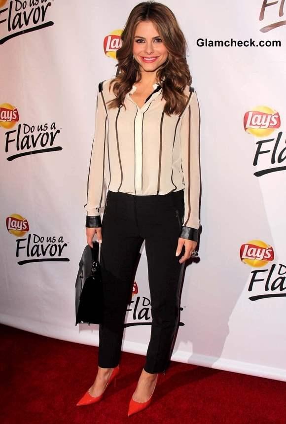 Maria Menounos Style Inspiration Wearing Black White Stripes