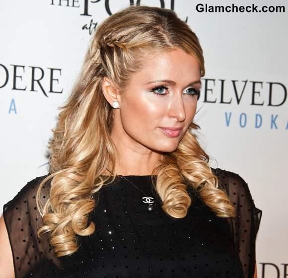 Paris Hilton braided bangs curly hair