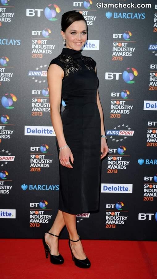 d2333d6ffd Victoria Pendleton Enchants in Black Dress at 2013 BT Sport Industry ...