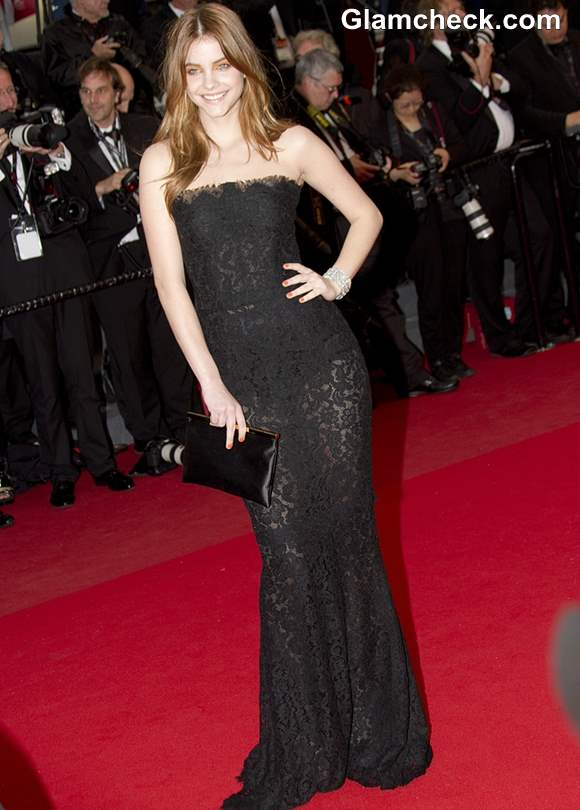 Barbara Palvin Lace Gown at Cannes 2013