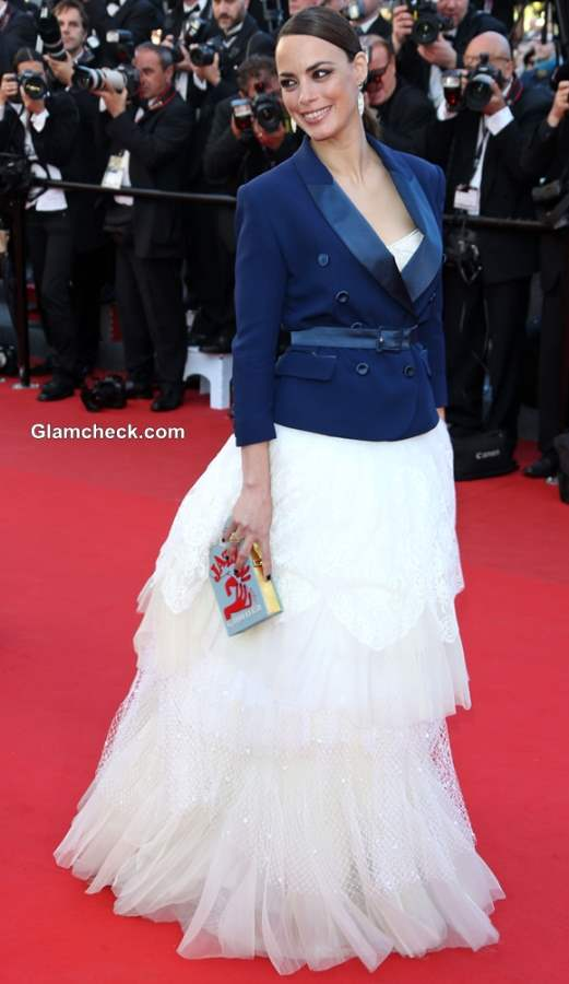 Berenice Bejo 2013 blue jacket with white gown