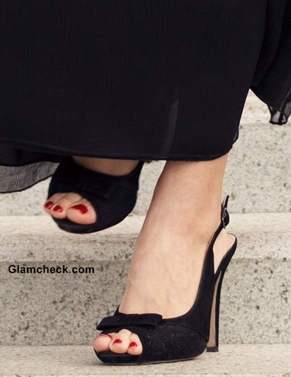 Black peep toe stiletto sling backs