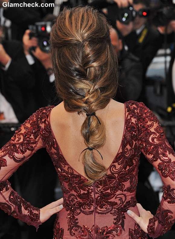 Cannes 2013 Hairstyle Cheryl Cole Fishtail Plait With a Twist