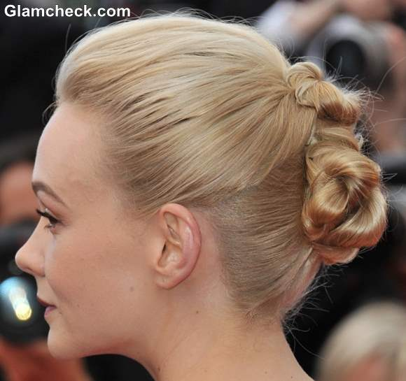 Carey Mulligan Knotted Bun Hairstyle 2013