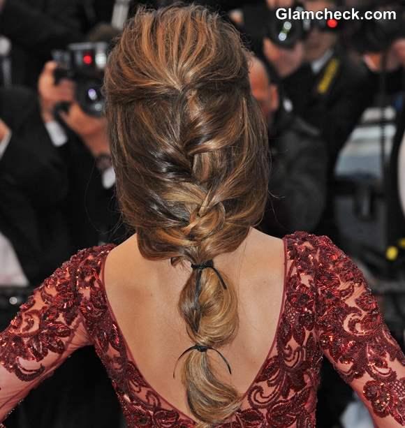 Cheryl Cole Fishtail Plait Hairstyle Cannes 2013
