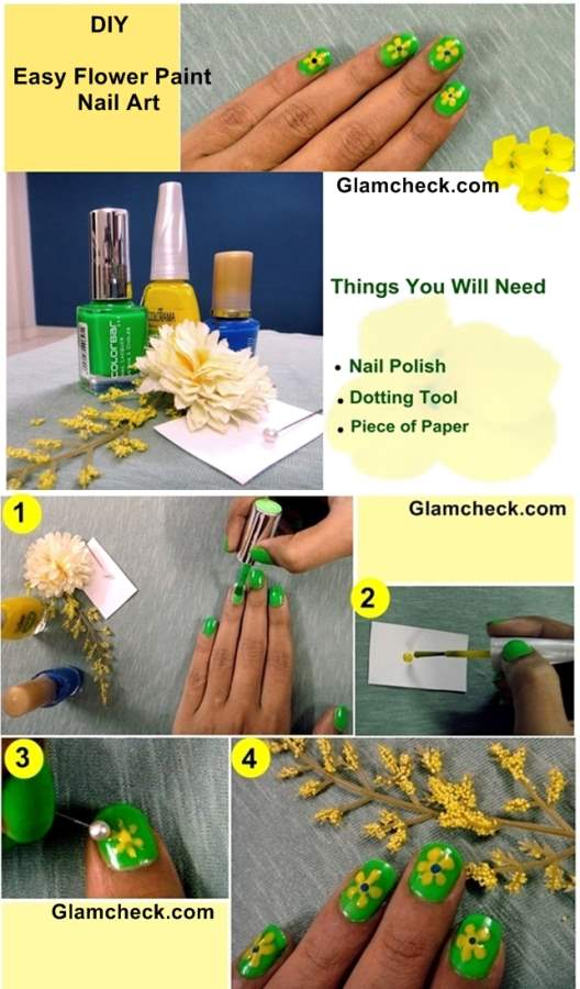 DIY Easy Flower Paint Nail Art