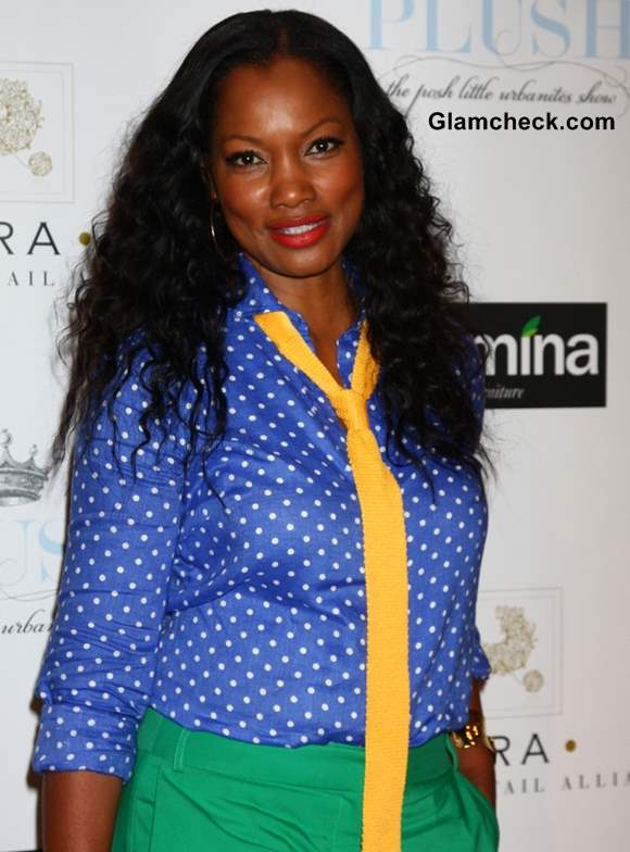 Garcelle Beauvais color blocked outfit green blue yellow